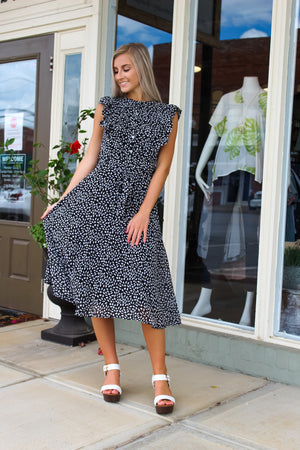 Audrey Ruffled Printed Midi Dress