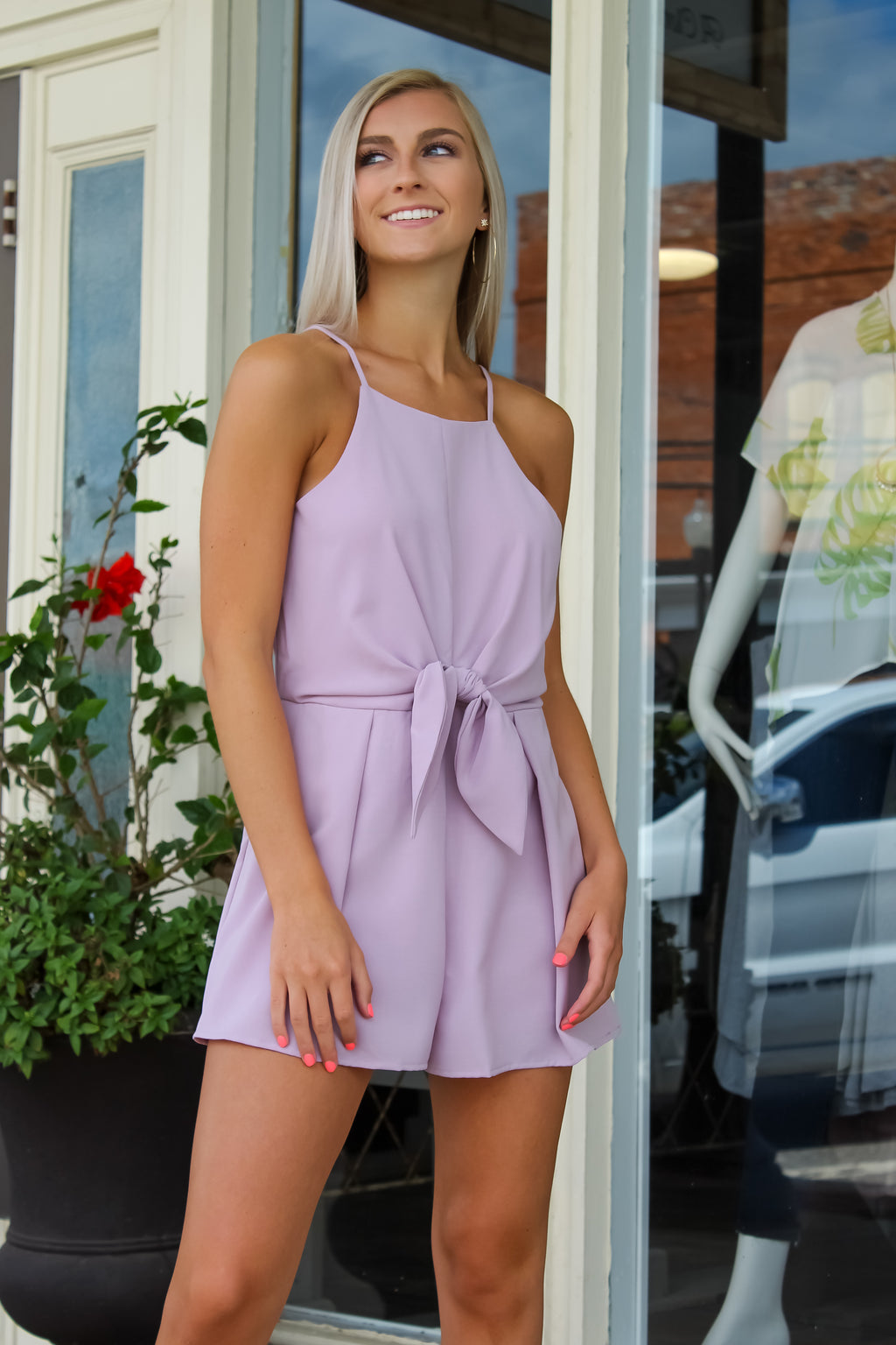 Misty Lilac Front Tie Romper