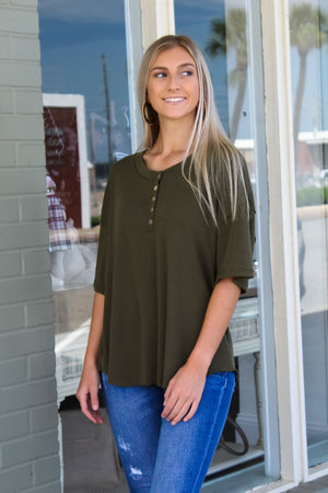 Ribbed Knit Button Top