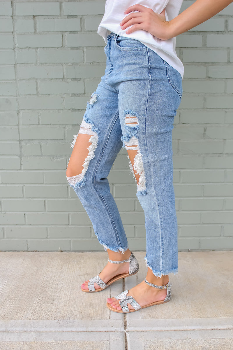 Jaitlyn Distressed Straight Leg Jeans