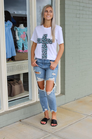 Distressed Cheetah Cross Tee