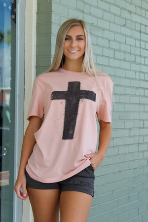 Heathered Peach Cross Tee