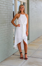 Veronica High Low Dress: White