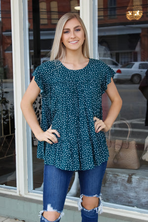 Leah Dotted Babydoll Top