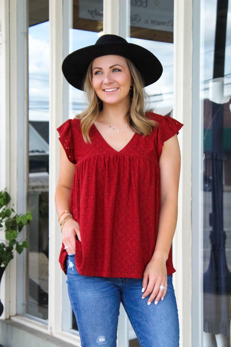 Sierra Eyelet Laced Top