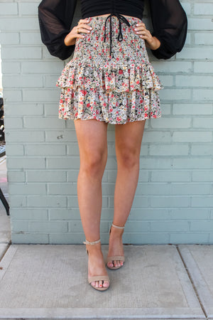 Mimosas In Maine Floral Mini Skirt