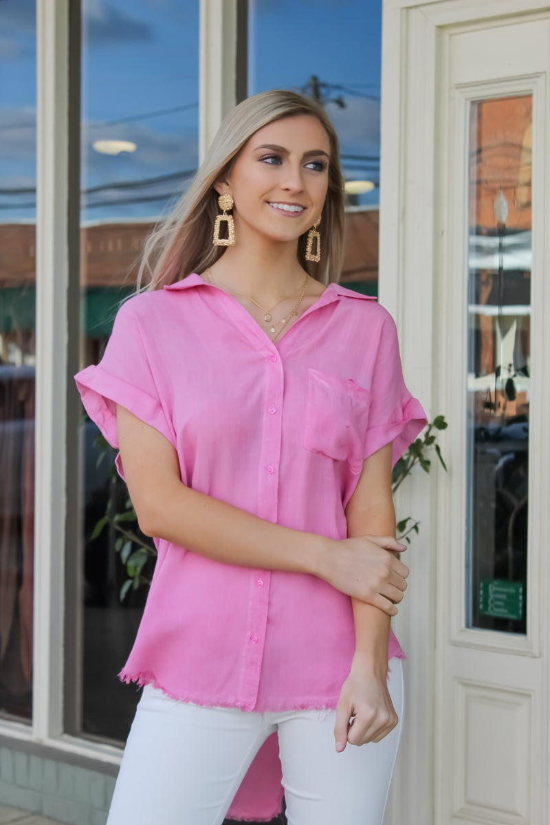 Karly Washed Button Up Frayed Top