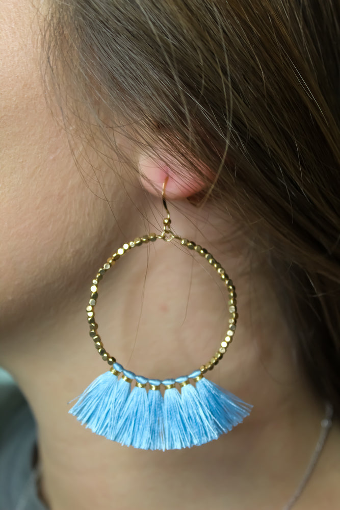 Golden Beaded Tassel Hoop