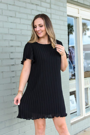 Farra Flutter Sleeve Pleated Dress