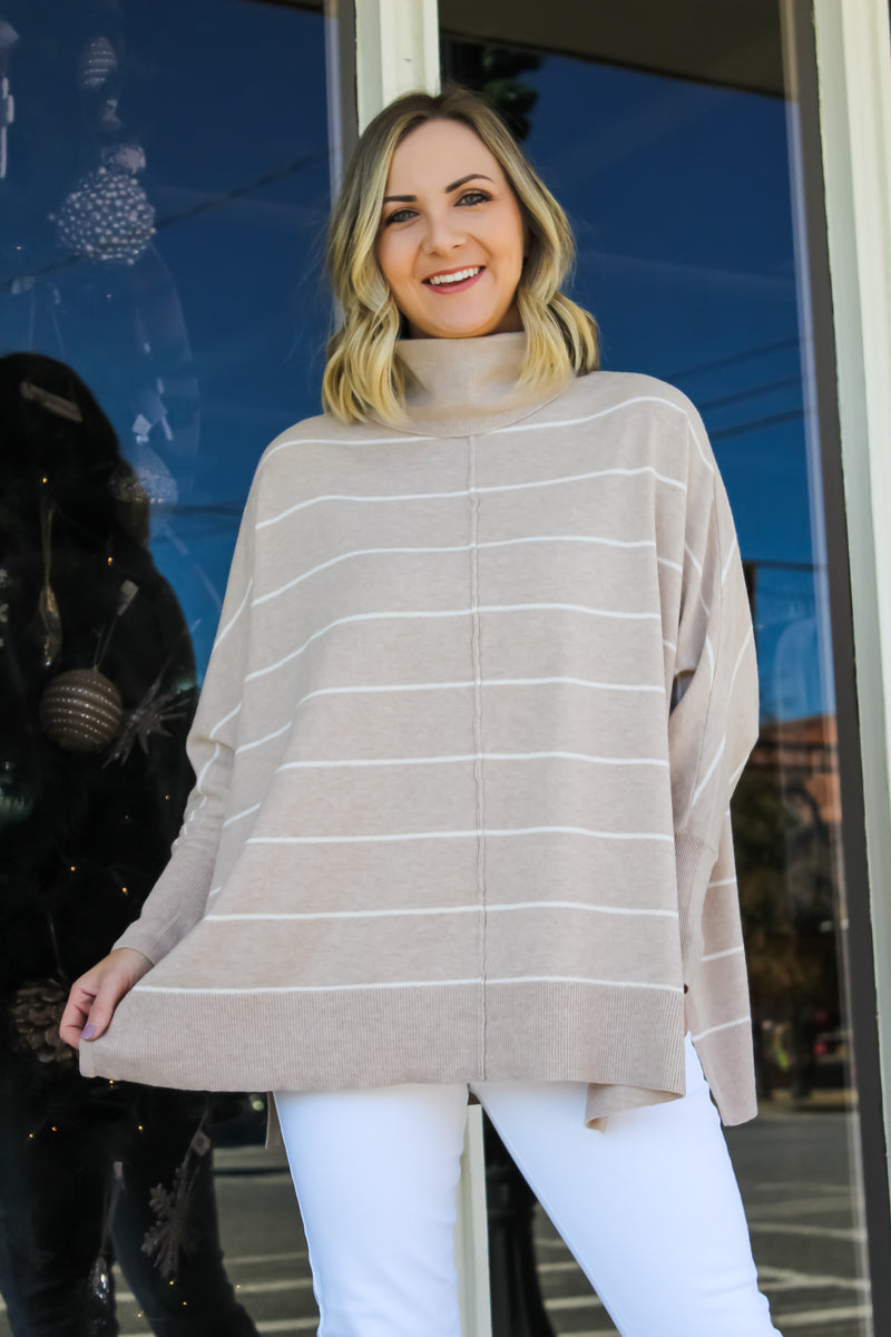 Alina Striped Turtleneck Poncho