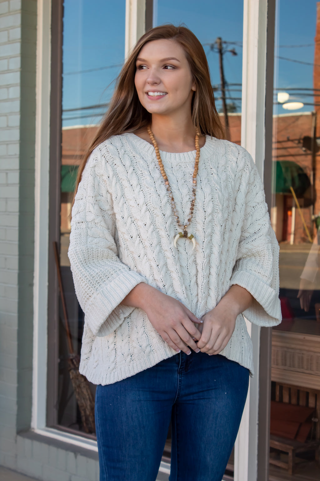 Oversized Cable Knit Sweater: Beige
