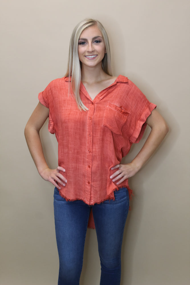 Washed Button Frayed Top