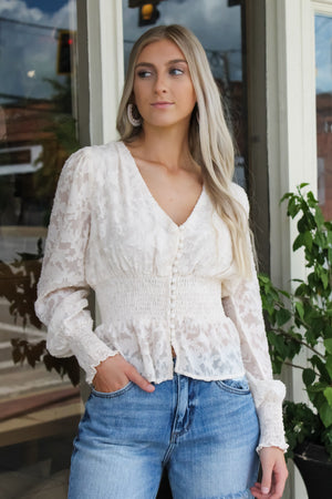 Buttoned Burn Out Top