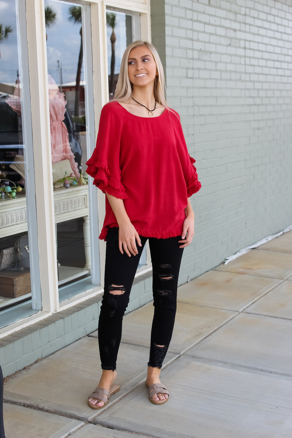 Hannah Frayed Hem Top