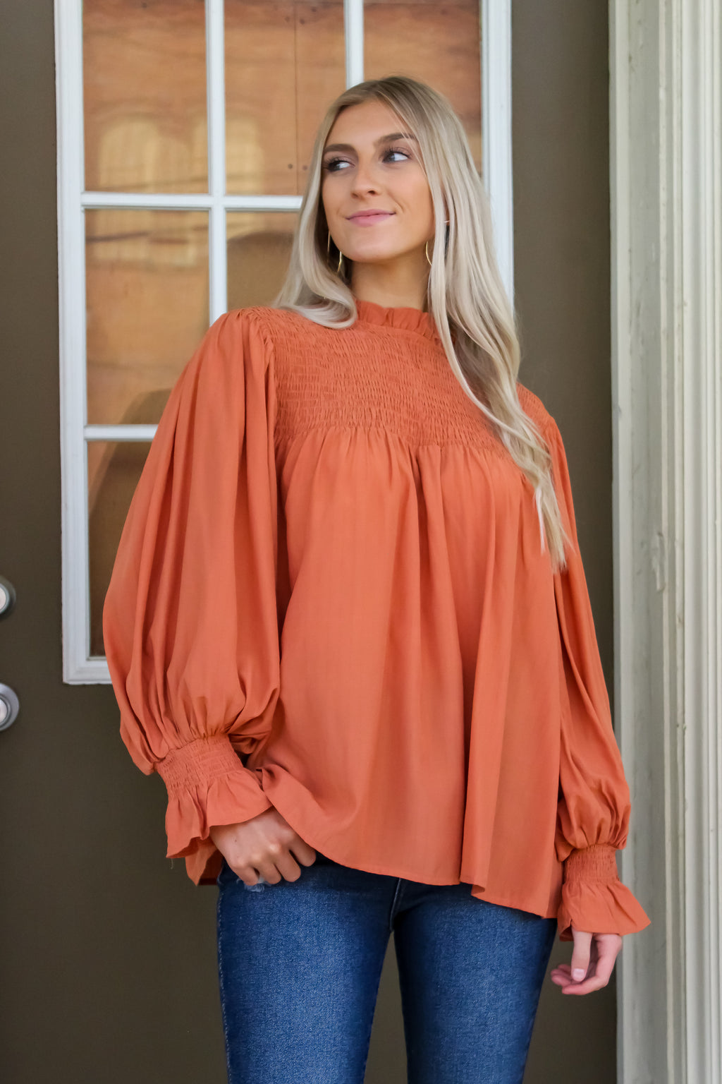 Tana Mocked Bubble Sleeve Top