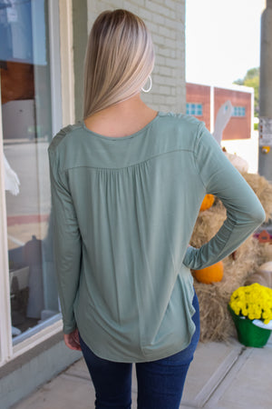 Long Sleeve Draped Surplice Top