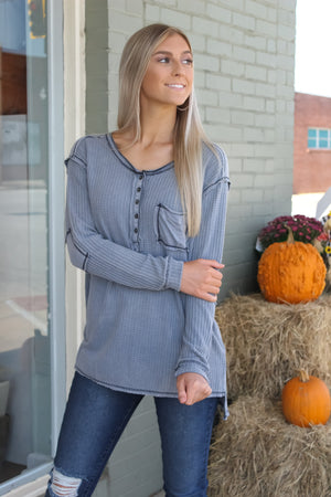 Buttoned Stone Washed Thermal Top