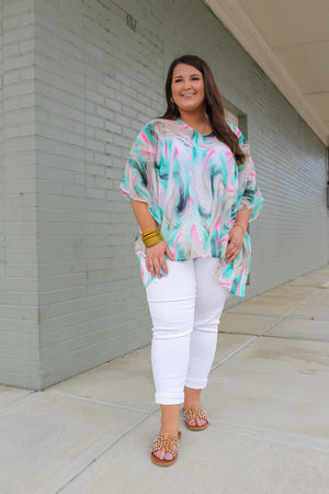 Mixed Up Marble Poncho Top