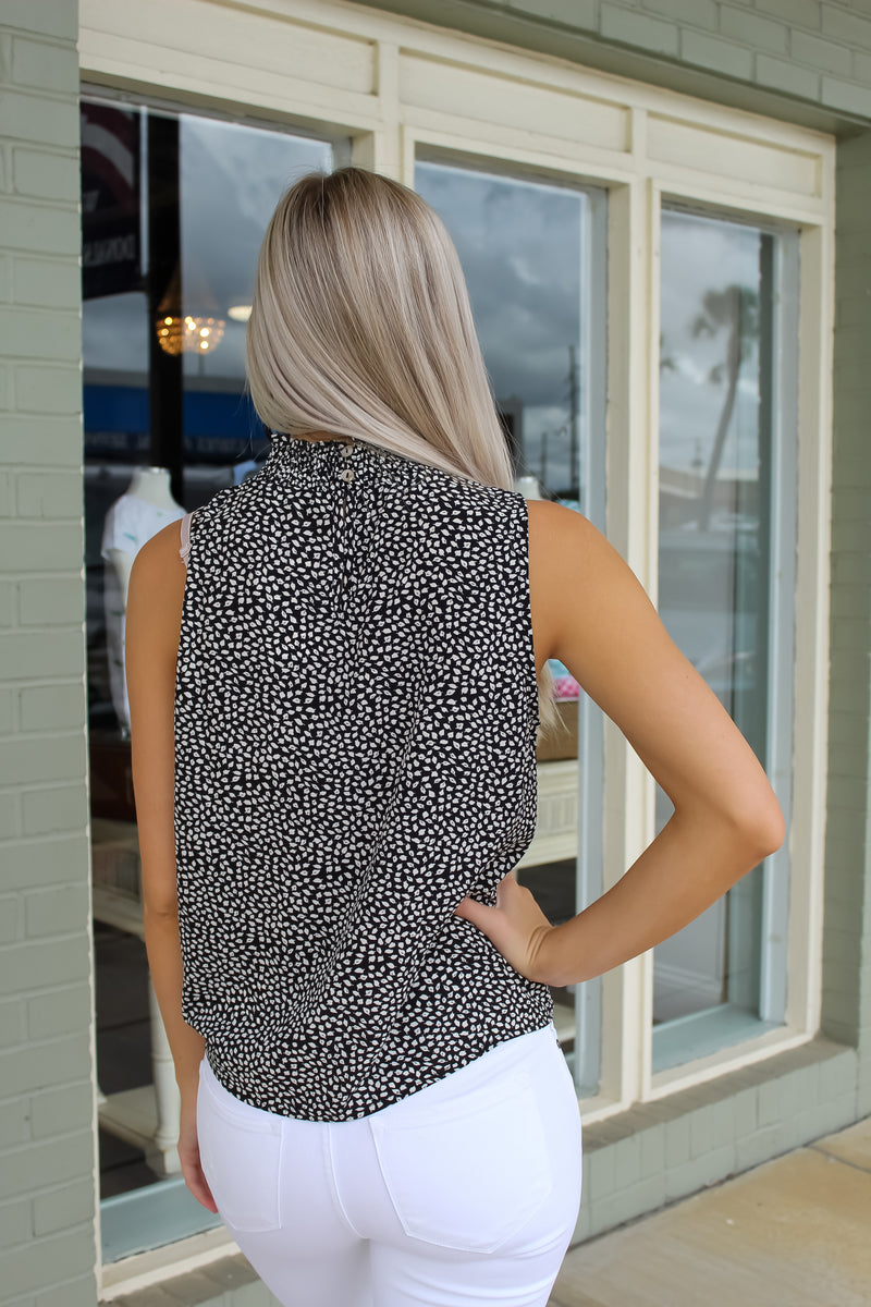 Smocked Neck Printed Woven Top