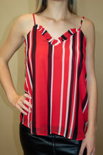 Game Day Stripe Ruffle Tank