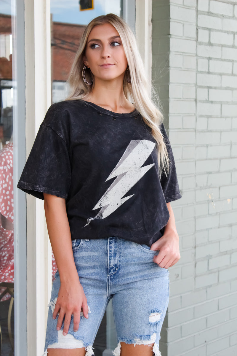 Lightning Distressed Graphic Tee