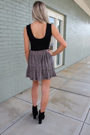 Suede Snake Pleated Skirt