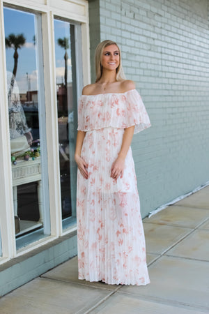 Floral Pleat Maxi Dress
