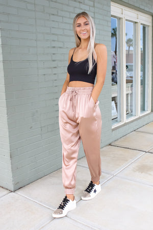 Sleek Satin Joggers