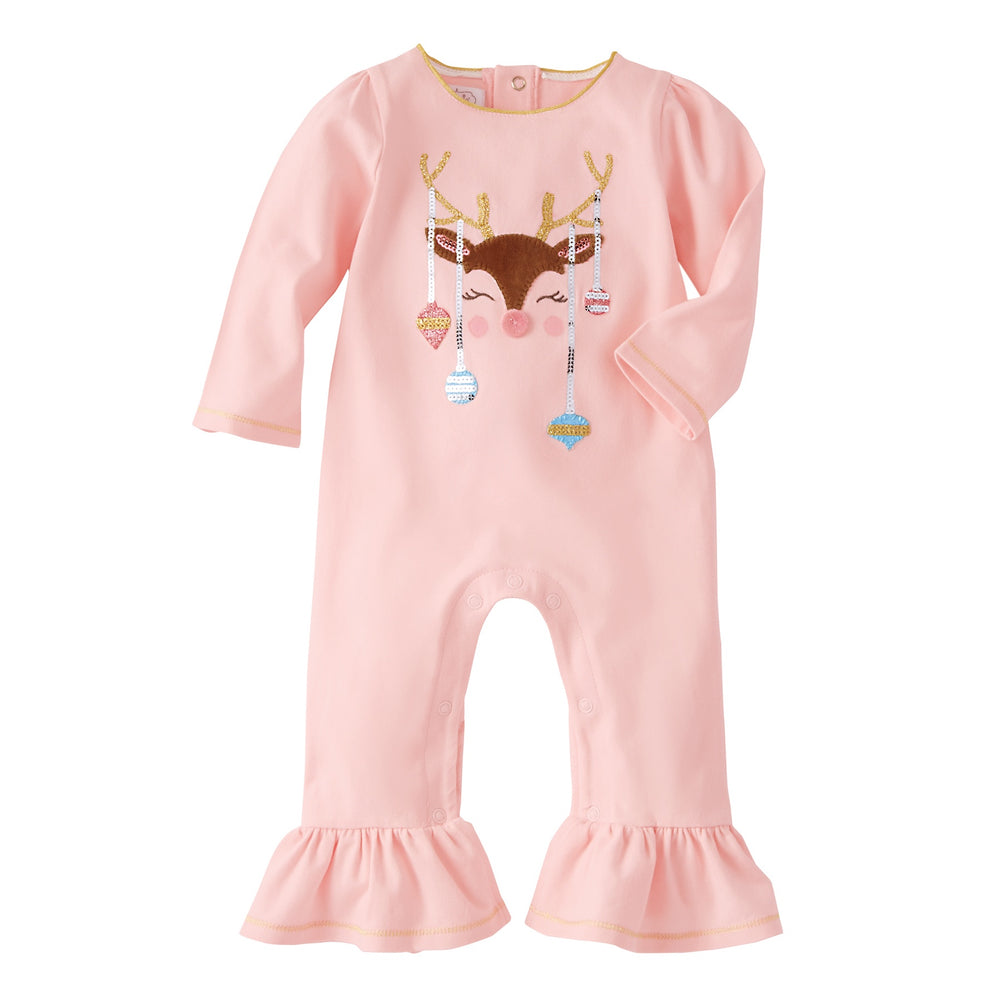 Reindeer & Ornament Ruffle One-Piece