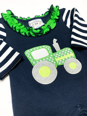 Tractor Ride Girls Applique Romper