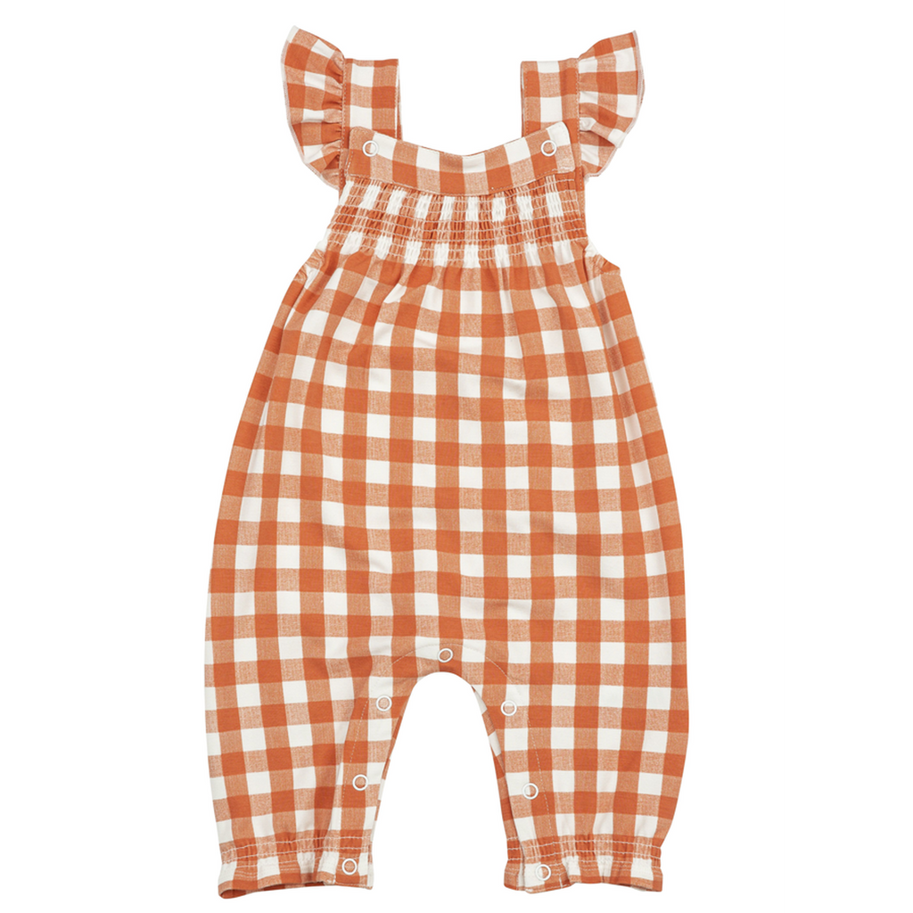 Gingham Pumpkin Smocked Coverall