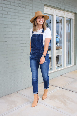 Baylee Distressed Denim Overall