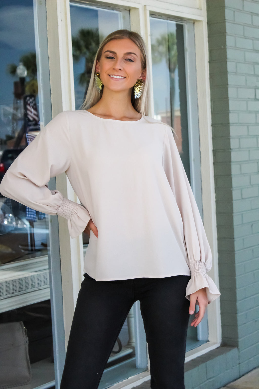 Lucy Bubble Sleeve Woven Top