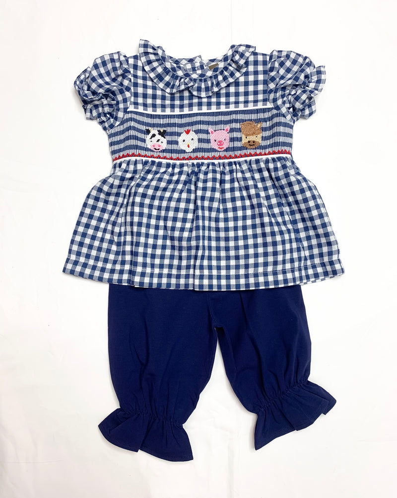 Farm Life Smocked Pantaloon Set