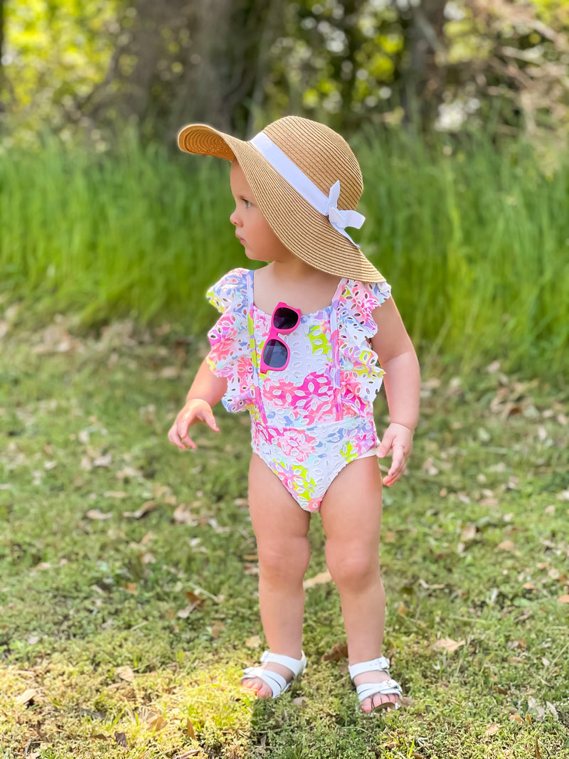 Floral Eyelet Ruffle One Piece