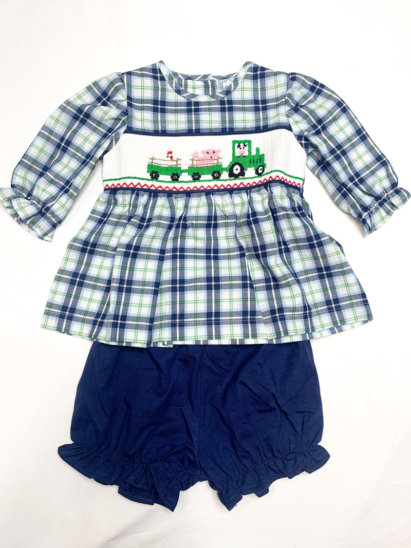 Tractor Fun Smocked Girls Set