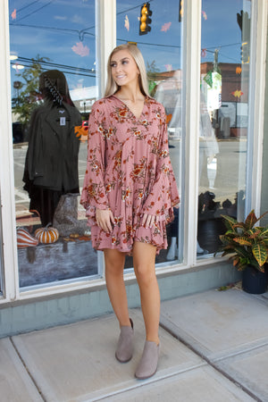 Floral Bell Sleeve Dress: Mauve Mix