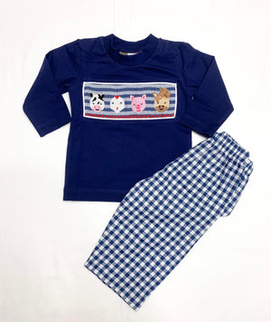 Farm Life Smocked Boys Pants Set