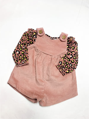 Leopard Overall Shorts Set