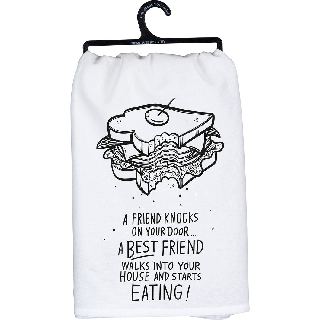 A Friend Knocks tea towel