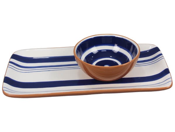 Ceramic Blue & White Serving Plate with Bowl- 2 piece set