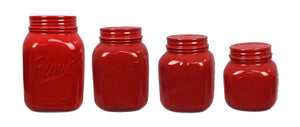 Red Mason Jar Canister Set