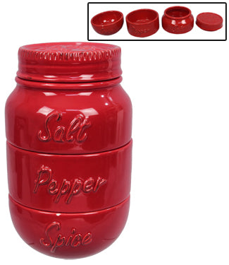 Red Mason Jar Spice Holder