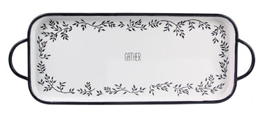Enamel Black and White Serving Tray