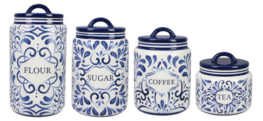 Ceramic Blue and White Talavera Canister Set of 4