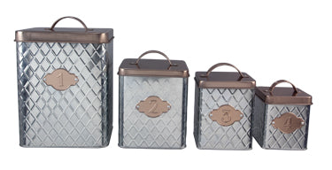Copper & Tin Square Punched Tin Canister set
