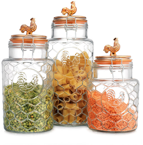 Rooster glass & copper canisters - set of 3