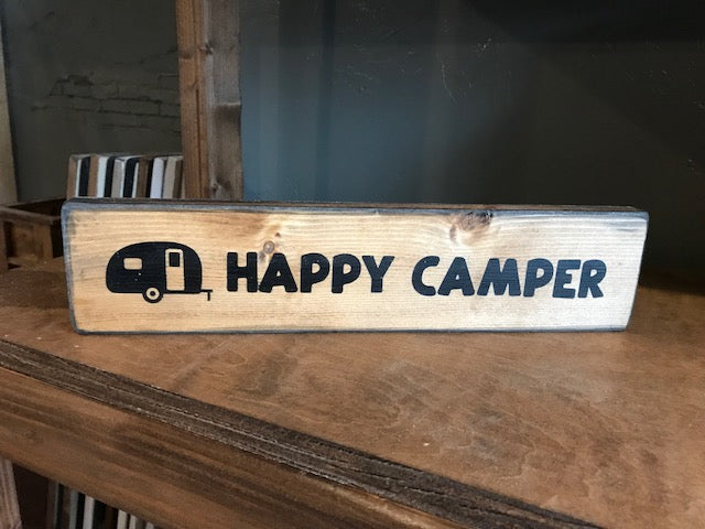 Shelf Sitter - Happy Camper - stained