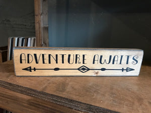 Shelf Sitter - Adventure Awaits arrow - stained