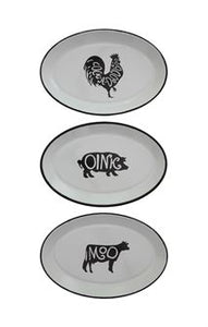Enameled Tray with Farm Animal 3 styles